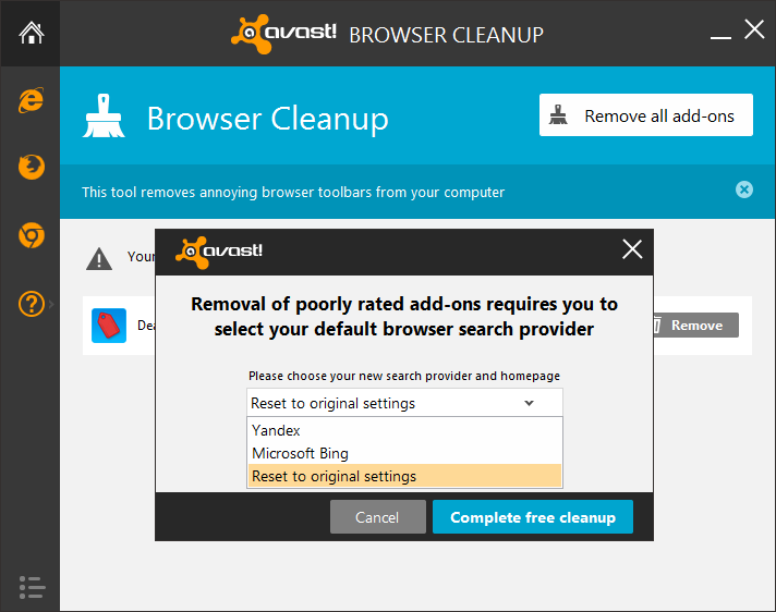 eliminación de complementos de limpieza del navegador avast