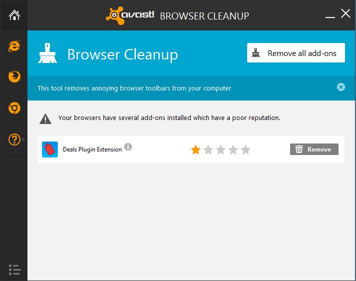 ventana principal de limpieza del navegador avast