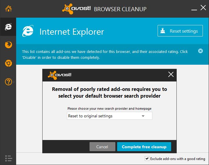 configuración de restablecimiento de limpieza del navegador avast