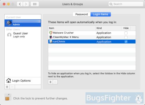 элементы входа в систему с хромом или runchmm на Mac