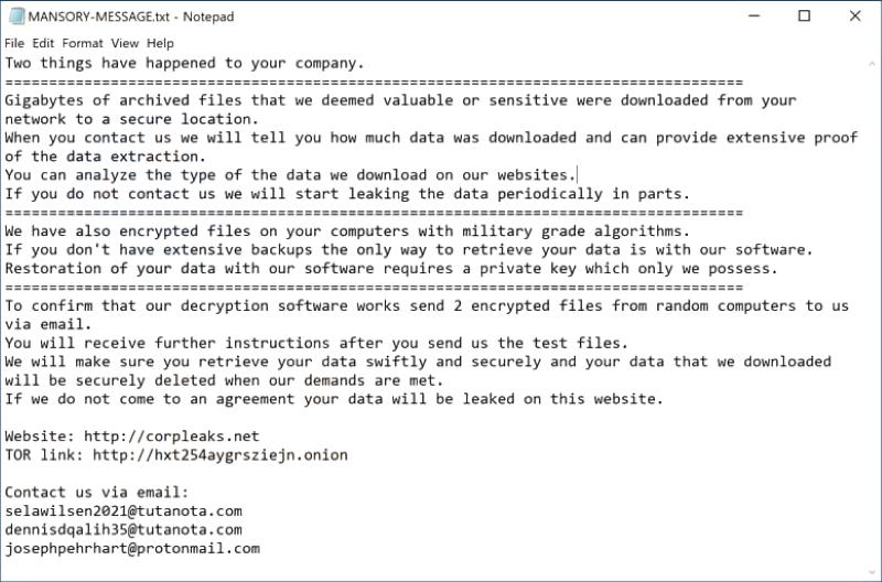 ransomware mansory