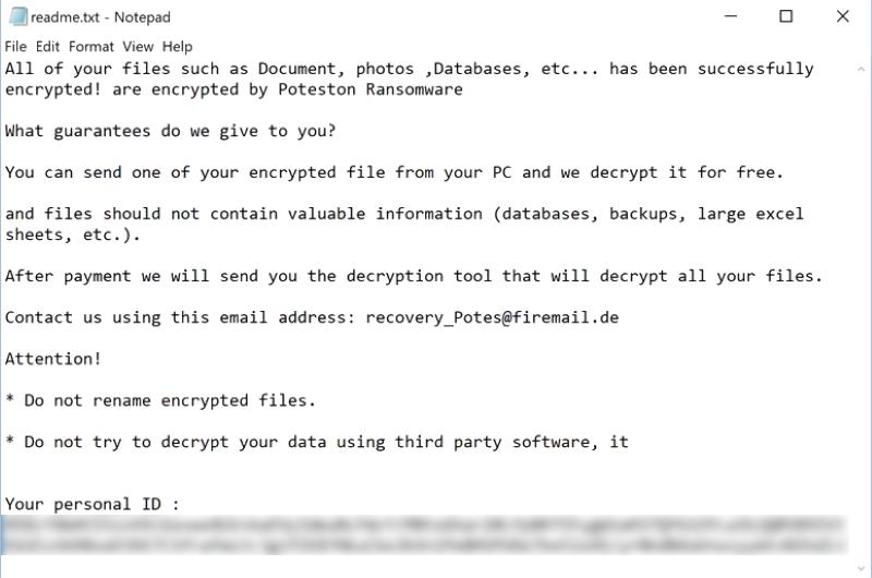 poteston ransomware