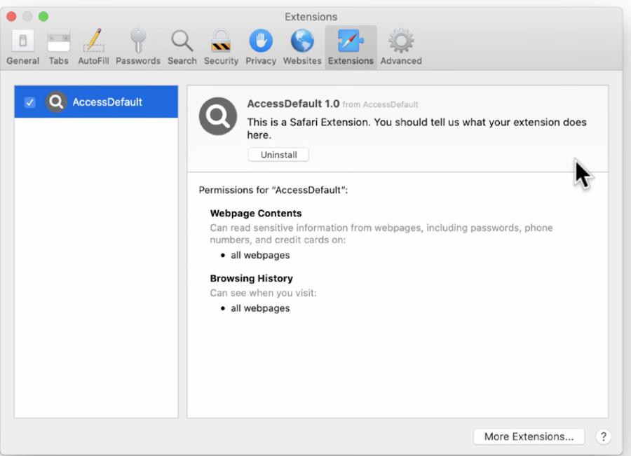accessdefault extension safari mac