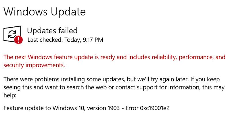 error de actualización de Windows 0xc19001e2