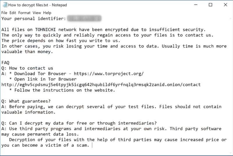 tohnichi ransomware