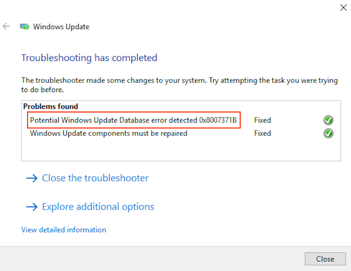 windows update error 0x8007371b